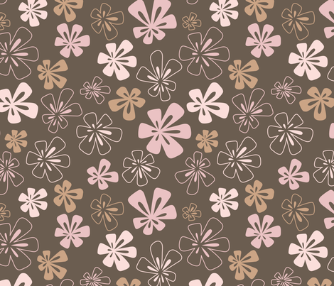 Fancy Flowers in Brown and Pink fabric by paula_ohreen_designs on Spoonflower - custom fabric