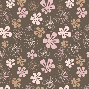 Fancy Flowers in Brown and Pink