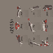 Dachshund year - 2018 Calendar Tea Towel