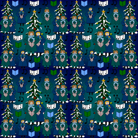 Christmas Carolers Bah Carols Harpo and Caroling Gertie and Fabric Collection fabric by lworiginals on Spoonflower - custom fabric