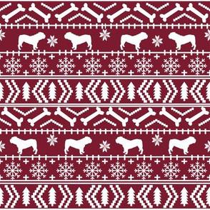 English Bulldog fair isle christmas design fabric bulldogs maroon