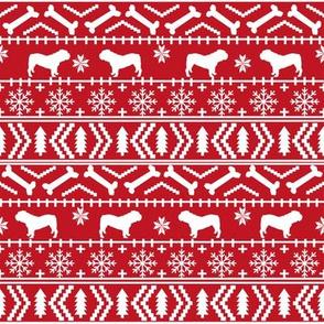 English Bulldog fair isle christmas design fabric bulldogs red