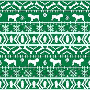 English Bulldog fair isle christmas design fabric bulldogs green