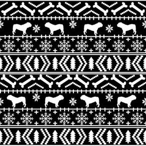English Bulldog fair isle christmas design fabric bulldogs black and white