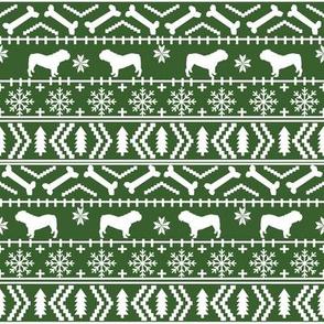 English Bulldog fair isle christmas design fabric bulldogs med green