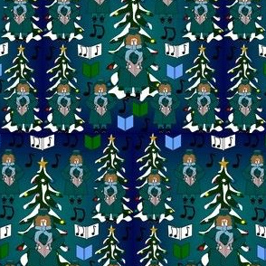 Christmas Caroler Bah Carols Harpo Fabric Collection
