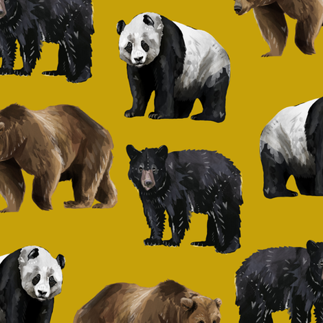 Bears Everywhere - Smaller Scale on Gold fabric by taraput on Spoonflower - custom fabric