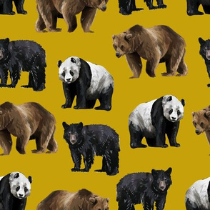 Bears Everywhere - Smaller Scale on Gold