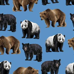 Bears Everywhere - Smaller Scale on Blue