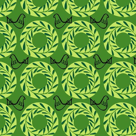 Vintage Green Wreath fabric by holly_helgeson on Spoonflower - custom fabric