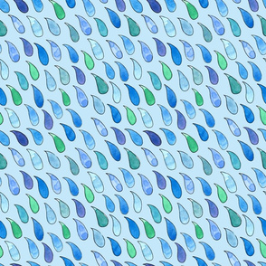 watercolor raindrops on blue