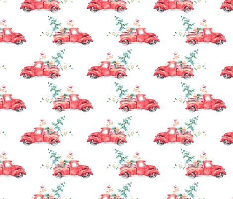 Christmas Vintage Truck and Presents fabric by hipkiddesigns on Spoonflower - custom fabric