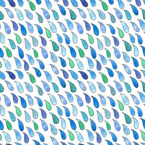 watercolor raindrops on white