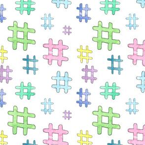 hashtags on white