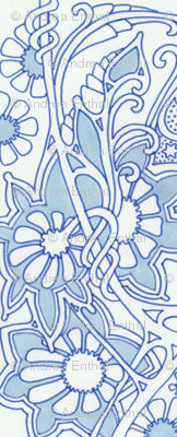 Blue and White Vine Curl World