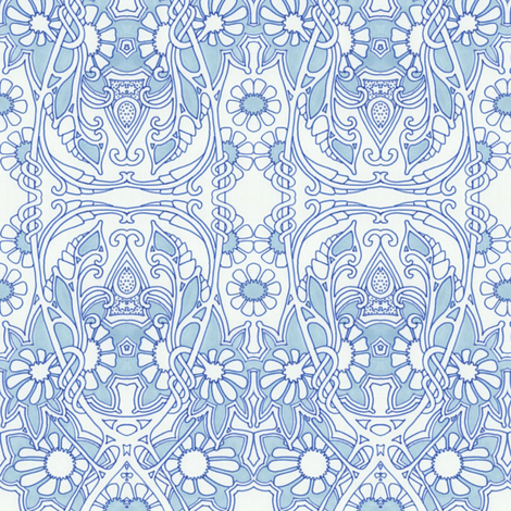 Blue and White Vine Curl World fabric by edsel2084 on Spoonflower - custom fabric