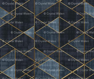 Mod Triangles Gold Indigo rotated