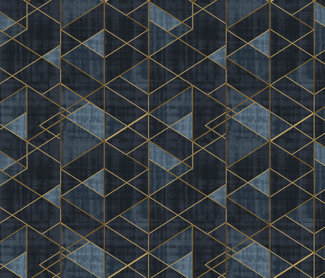 Mod Triangles Gold Indigo rotated fabric by crystal_walen on Spoonflower - custom fabric