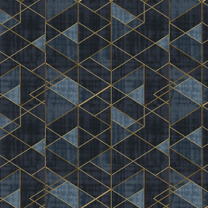 Mod Triangles Gold Indigo rotated