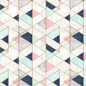Mod Triangles Navy Mint Pink rotate