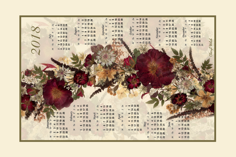 2018 Red Rose Calendar Tea towel fabric by mypetalpress on Spoonflower - custom fabric