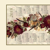 2018 Red Rose Calendar Tea towel