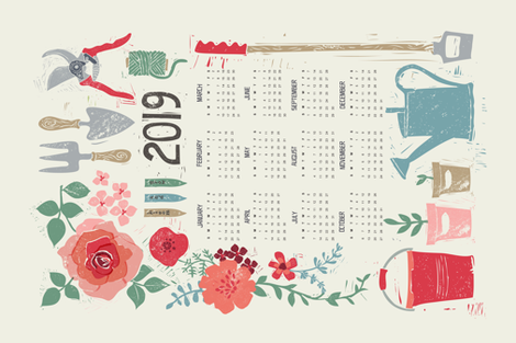 BLOOM & GROW 2019 CALENDAR TEA TOWEL fabric by ruth_hickson on Spoonflower - custom fabric