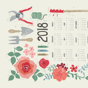 BLOOM & GROW 2018 CALENDAR TEA TOWEL
