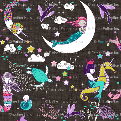 Mermaid Lullaby Candy (on black  linen) MICRO