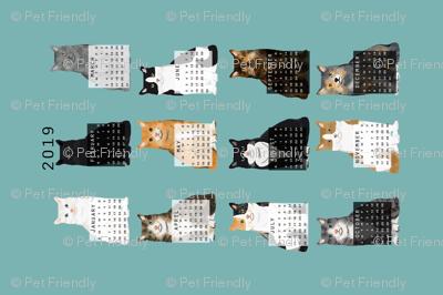 2019 Cat Calendar fabric cat themed tea towel calendar gulf blue