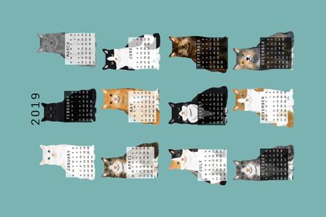 2019 Cat Calendar fabric cat themed tea towel calendar gulf blue fabric by petfriendly on Spoonflower - custom fabric