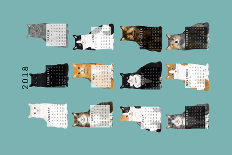 2018 Cat Calendar fabric cat themed tea towel calendar gulf blue fabric by petfriendly on Spoonflower - custom fabric