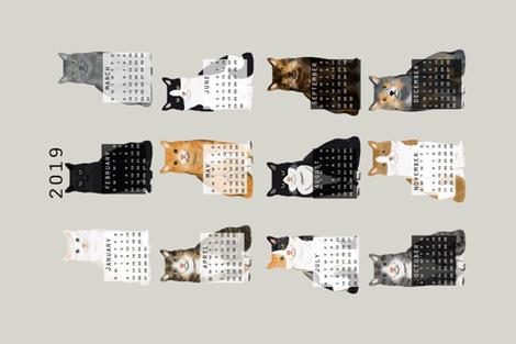2019 Cat Calendar fabric cat themed tea towel calendar grey fabric by petfriendly on Spoonflower - custom fabric