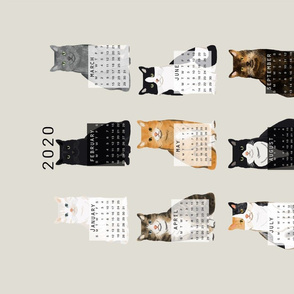 2020 Cat Calendar fabric cat themed tea towel calendar grey