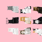 2019 Cat Calendar fabric cat themed tea towel calendar pink