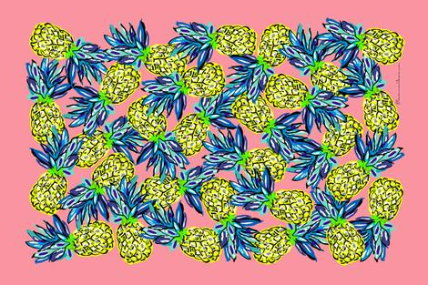 pineapples_on_pink_tea_towel fabric by uramarinka on Spoonflower - custom fabric