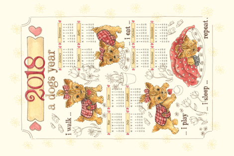 Cute Dog for 2018  fabric by lauraflorencedesign on Spoonflower - custom fabric
