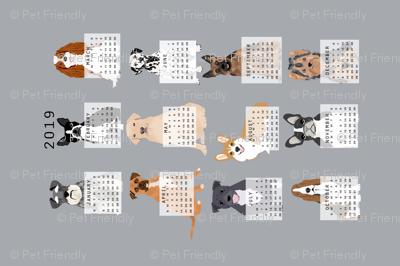 2019 Dog Calendar fabric dogs themed tea towel calendar grey