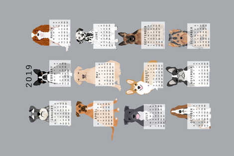 2019 Dog Calendar Fabric Dogs Themed Tea Towel Calendar Grey Fabric