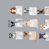 2019 Dog Calendar fabric dogs themed tea towel calendar grey