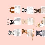 2019 Dog Calendar fabric dogs themed tea towel calendar pink