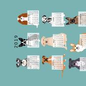 2019 Dog Calendar fabric dogs themed tea towel calendar gulf blue