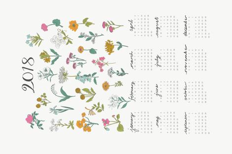 2018 Wildflower Calendar fabric by minirainbowstudio on Spoonflower - custom fabric
