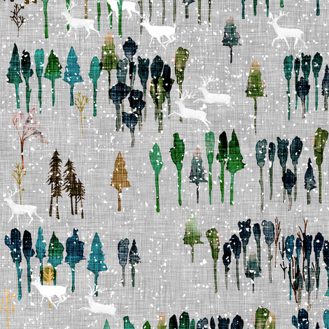 Wintry wood  (first light)  fabric by nouveau_bohemian on Spoonflower - custom fabric