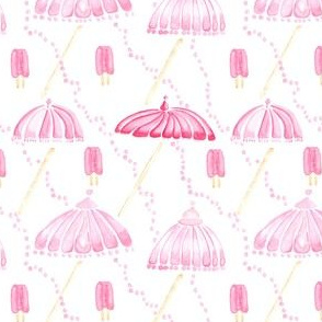 Pink Watercolor Umbrella Popsicle Pearl Dots Spots  || Drops white tan girl summer food parasol beach vacation _ Miss Chiff Designs