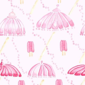 Pastel Pink Watercolor Popsicle Umbrella Pearl  || Spots Drops dots summer food girl  parasol  _ Miss Chiff Designs