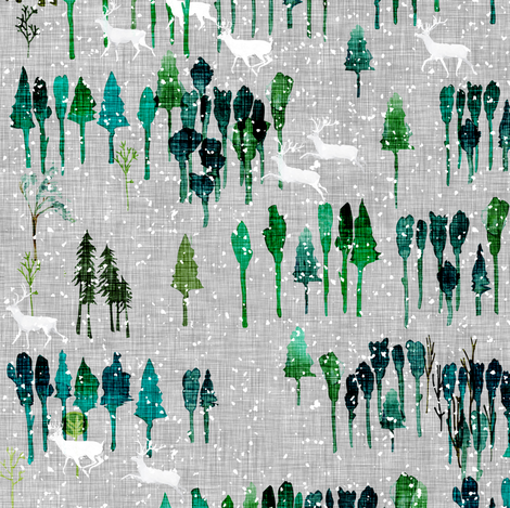 Wintry wood  (storm) MED fabric by nouveau_bohemian on Spoonflower - custom fabric