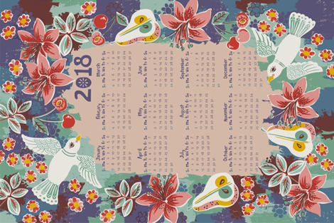 2018_cal_FINAL_submit_092517 fabric by paintmebright on Spoonflower - custom fabric