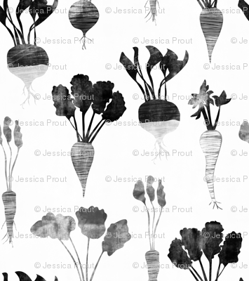 (small scale) rustic veggies (monochrome)