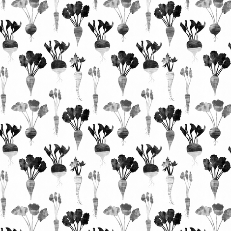 (small scale) rustic veggies (monochrome) fabric by littlearrowdesign on Spoonflower - custom fabric